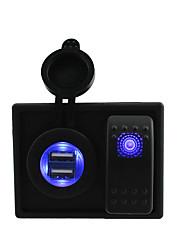 CC 12V / 24V 4.2A llevado digital de toma de cargador dual USB con cables de puente de interruptores de balancín y titular de la vivienda