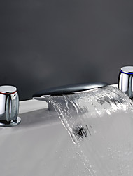 Waterfall Brass Bathroom Sink Faucet (Widespread)