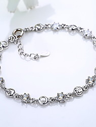 Chain Bracelet Zircon Cubic Zirconia Silver Plated Fashion Jewelry Silver Jewelry 1pc