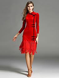 Latin Dance Dresses Women's Performance Velvet Tassel(s) 1 Piece Long Sleeve Natural Dress