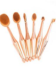 6 Brush Sets Blushkwast Oogschaduwkwast Lippenkwast Poederkwast Contour Brush Synthetisch haar Beugel Metaal UBUB