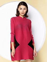 A tunica Vestito Da donna-Per uscire Sofisticato Monocolore Colletto alla coreana Sopra il ginocchio Maniche a ¾ Rosso Nero Verde