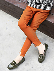 Girl's Fashion Solid Color Going out Casual/Daily Holiday Spring/Fall Cotton Children Tights Elasticity Skinny Pants Black White Camel