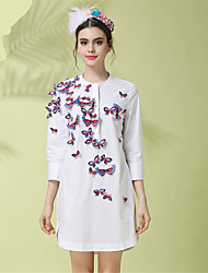 Spring Women Plus Size Fashion Vintage 3D Butterfly Embroidery Loose Casual Cotton Shirt Dress