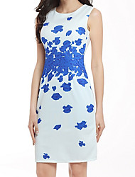 Women's Going out Casual/Daily Work Sexy Simple Chinoiserie Bodycon Dress,Print Round Neck Knee-length Sleeveless Others White SummerMid