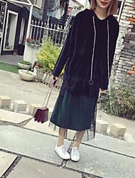 Tee-shirt Femme,Couleur Pleine Sortie Décontracté / Quotidien Vacances Vintage simple Printemps Manches Longues Capuche Rouge Noir Vert
