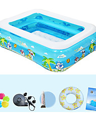 Children's Home Use Paddling Pool Large Size Inflatable Square Swimming Pool Heat Preservation Kids Paddling Pool Double Layer 122X90X40 CM
