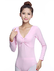 Ballet Leotard Women's Training Cotton Spandex Pleated 1 Piece Long Sleeve Natural Leotard Pink