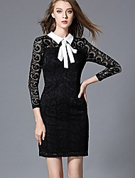 Women's Formal Work Sophisticated Lace Dress,Solid Lace Shirt Collar Above Knee Long Sleeve Nylon Black Spring High Rise Micro-elastic