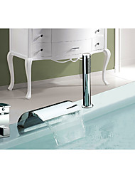 Contemporary Art Deco/Retro Modern Widespread Waterfall with  Ceramic Valve Single Handle Three Holes for  Chrome , Bathtub Faucet