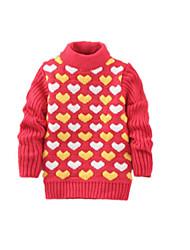 Menina de Suéter & Cardigan,Casual Floral Lã Inverno Preto / Verde / Rosa / Vermelho / Amarelo / Cinza