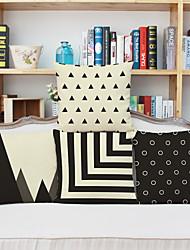 4 pcs Linen Pillow CaseStriped Geometric Polka Dots Euro Modern/Contemporary