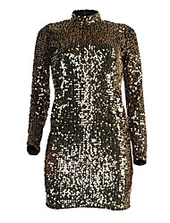 Women's Party Club Sexy Street chic Bodycon Hin Thin DressSolid Backless Sequins Crew Neck Mini Long Sleeve Gold Spring Fall