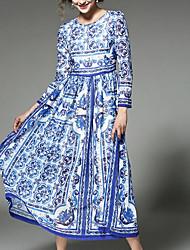 Feminino balanço Vestido, Para Noite Simples Sofisticado Floral Estampado Decote Redondo Altura dos Joelhos Manga Longa Azul Raiom