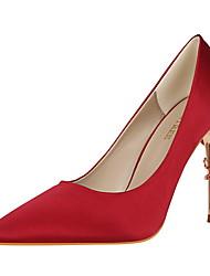 Damen-High Heels-Kleid-Seide-Stöckelabsatz-Komfort-Grün Blau Rosa Burgund Champagner
