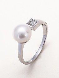 Ring Imitation Pearl AAA Cubic Zirconia Daily Casual Jewelry Silver Imitation Pearl Women Ring 1pc,One Size Silver