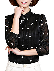 Women's Going out Casual/Daily Work Street chic Active Spring Fall Blouse,Polka Dot Stand Long Sleeve Polyester Medium