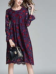 Women's Plus Size Going out Holiday Sexy Simple Cute Loose Lace Dress,Solid Embroidered Lace Cut Out Round Neck Knee-length Long Sleeve