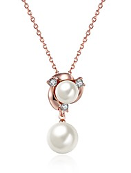 Women's Pendant Necklaces Imitation Pearl AAA Cubic Zirconia Pearl Imitation Pearl Zircon Rose Gold Plated Alloy FlowerUnique Design