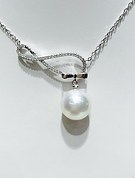 Pendant Necklaces Imitation Pearl Pearl Sterling Silver Round Basic Fashion Silver Jewelry Daily Casual 1pc