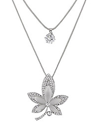Pendant Necklaces Sweater Chain Jewelry Party Maple leaf Double-layer Alloy Rhinestone Women 1pc Gift Silver