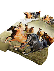 Mingjie 3D Reactive Horse And Rosel  Bedding Sets 4 Pcs for Queen Size Contain 1 Duvet Cover 1 Bedsheet 2 Pillowcases from China