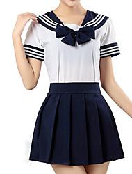 Inspiriert von Sailor Moon Cosplay Anime Cosplay Kostüme Cosplay Kostüme Gestreift Weiß Tintenblau Kurze Ärmel Kleid Für Unisex