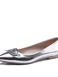 Women's Flats Spring Summer Comfort Leatherette Wedding Office & Career Dress Flat Heel Rhinestone Gold Silver Blushing Pink