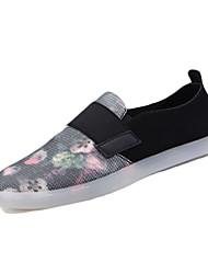 Damen-Loafers & Slip-Ons-Outddor Lässig-PU-Flacher Absatz-Komfort-Schwarz Weiß Grau