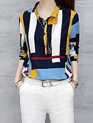 Feminino Camisa Social Formal Trabalho Tamanhos Grandes Simples Moda de Rua Todas as Estações,Listrado Amarelo Outros Colarinho de Camisa