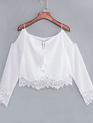 Women's Going out Sexy Fall Blouse,Solid Strap / Boat Neck Long Sleeve White / Black Cotton Medium