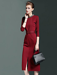 Women's Formal Work Street chic Sophisticated Sheath Dress,Solid Beaded Round Neck Knee-length ¾ Sleeve Cotton Polyester SpandexRed Black