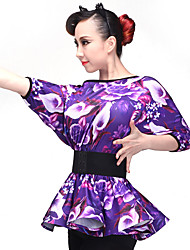 Latin Dance Tops Women's Performance Milk Fiber 1 Piece Half Sleeve Long Sleeve Top