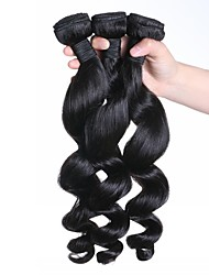 Natural Color Human Hair Weaves Brazilian Virgin Hair Loose Wave 3 Pieces Hair Weaves
