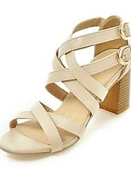 Women's Sandals Spring Summer Fall PU Dress Casual Party & Evening Chunky Heel Buckle Black Orange Beige