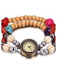 REBIRTH Dámské Módní hodinky Náramkové hodinky Křemenný Voděodolné Dřevo Kapela Běžné nošení Červená Hnědá Zelená FialováFialová Dřevo