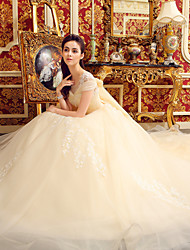 Ball Gown Wedding Dress - Elegant & Luxurious Glamorous & Dramatic Floral Lace Cathedral Train Scoop Tulle with Appliques Beading Crystal