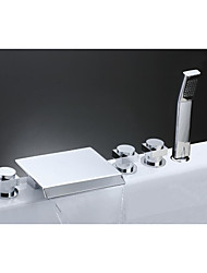 Contemporary Roman Tub Waterfall Widespread Handshower Included with Ceramic Valve Three Handles Five Holes for Chrome  Bathtub Faucet