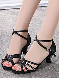 Women's Dance Shoes Satin Satin Latin Sandals Low Heel Practice Beginner Professional Indoor Outdoor PerformanceBlack Dark Customizable