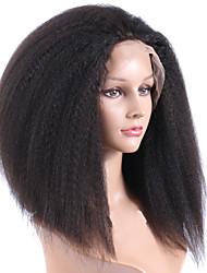 Fashion Wig 14inches Kinky Straight Full Lace Wig 100% Human Hair Brazilian Hair Lace Wigs 130% Density Free Part Glueless Wigs For Black Women