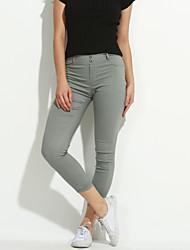 Для женщин Один цвет Legging,Хлопок Спандекс Ткань средней плотности