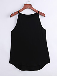 Women's Casual/Daily Simple Fall Tanks,Solid Strap Sleeveless White / Black Cotton Opaque