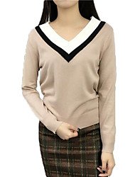 Women's Casual Cashmere Knitwear V Neck Slim Sweater Pullover