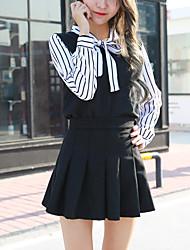 camisa de mangas compridas mulheres doce arco laço v-neck chiffon listrado solta camisa tiro real