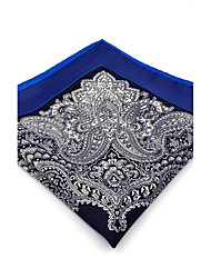 BH29 Men's Pocket Square Navy Blue Paisley 100% Silk Business New Casual Jacquard For Men