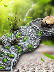Aquarium Decoration Ornament Rocks Turtle Stand Resin Gray