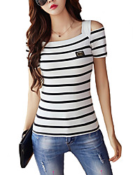 Women's Off The Shoulder|Fine Stripe Casual/Daily Simple All Seasons Shirt,Plaid V Neck Long Sleeve Red Cotton / Polyester Thin