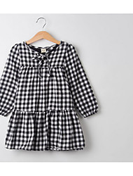 Girl's Going out Casual/Daily Holiday Check Dress,Cotton All Seasons Long Sleeve