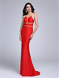 TS Couture Formal Evening Dress - See Through Trumpet / Mermaid Jewel Sweep / Brush Train Jersey with Pleats