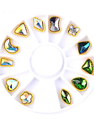 12pcs/box Nail Alloy Jewelry Gold Symphony AB Rhinestone Nail Art